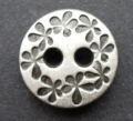 16mm Flowers Silver Metal Button