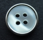 14mm Silver Metal Edge White Shadow Stripe 4 Hole Metal Button