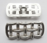 Metal Button 26mm Cross Weave Silver Shank