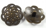 28mm Swirl Pattern Shank Brown Metal Button