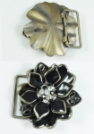 Belt Buckle Flower 38mm Black Enamel and Diamante