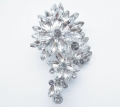 Long Flower Rhinestone Brooch 2.7 Inch