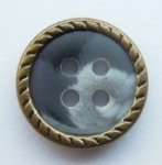 13mm Brown Metal Edge Mid Grey Aran 4 Hole Metal Button