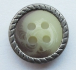 13mm Matt Silver Metal Edge Brown Aran 4 Hole Metal Button