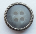 13mm Matt Silver Metal Edge Grey Aran 4 Hole Metal Button