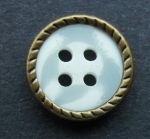13mm Brown Metal Edge White Aran 4 Hole Metal Button