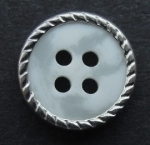 13mm Silver Metal Edge White Aran 4 Hole Metal Button