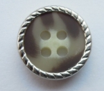 13mm Silver Metal Edge Brown Aran 4 Hole Metal Button