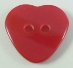 Novelty Button Heart Shadow Stripe Red 15mm