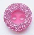 Cerise Glitter Edge Sewing Button 11mm