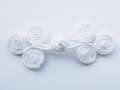 White Swirl Frog Fasteners Clasp 24mm Fabric 2 Piece Set