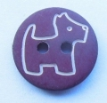 Novelty Button Dog 2 Hole Burgundy 13mm