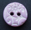 12mm White Flower And Lilac Button