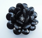 Black Rose Rhinestone Brooch 2 Inch