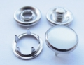 4 Part Poppers Snap Fasteners Silver Pearl 12mm