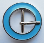 Belt Buckle Metal 21mm Round Blue Enamel