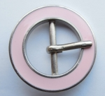 Belt Buckle Metal 21mm Round Pink Enamel