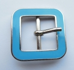 Belt Buckle Metal 21mm Square Blue Enamel
