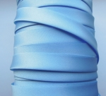 Satin Bias Binding Single Folded 15mm Light Blue 25 Metres