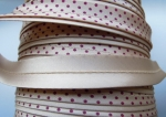 Satin Bias Binding Folded 16mm Cream and Red Polkadot 25 Metres