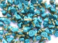 100 Satin Ribbon Roses 12mm Jade