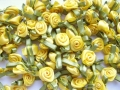 100 Satin Ribbon Roses 12mm Lemon