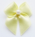 100 Ribbon Bows With Pearl 10mm Lemon